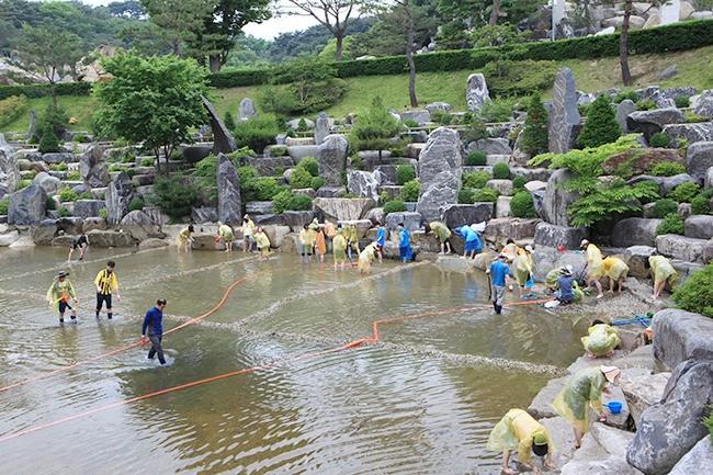 [摂理ニュース]池の掃除001